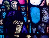 Stained glass image of Abraham Lincoln